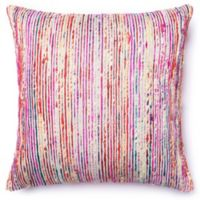 Loloi Multicolored Yarn Ribbed 22-Inch Square Throw Pillow in Red