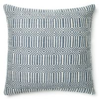 Loloi Persephone 22-Inch Square Throw Pillow in Blue/Ivory