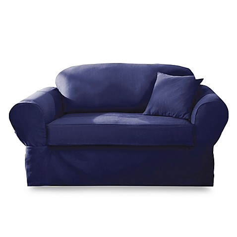 Sure Fit Twill Supreme 2 Piece Loveseat Slipcover In