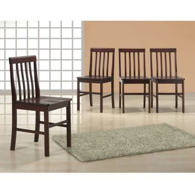 Walker Edison Wood Dining Chairs in Espresso (Set of 4)
