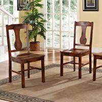 Walker Edison Dark Oak Wood Dining Chairs Set Of 2