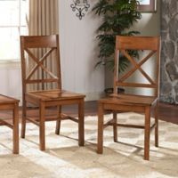 Walker Edison X-Back Wood Dining Chairs in Antique Brown (Set of 2)