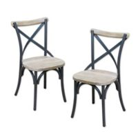 Walker Edison Reclaimed Wood/Metal Dining Chairs (Set of 2)