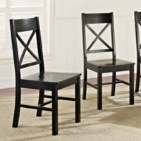 Walker Edison X-Back Wood Dining Chairs in Black (Set of 2)