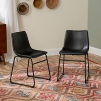 Faux Leather Dining Chairs Set of 2 in Black