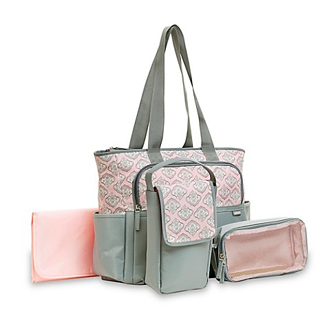 carter 39 s 5 piece tote diaper bag set in grey and pink. Black Bedroom Furniture Sets. Home Design Ideas