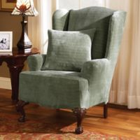 Sure Fit® Stretch Royal Diamond Wing Chair Slipcover in Sage