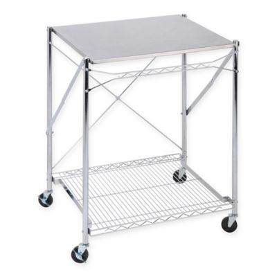 Honey Can Do® Household Folding Work Table With Wheels In Stainless Steel