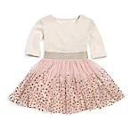 Sweet Heart Rose Size 3M 2-Piece Gold Dot Dress and Diaper Cover Set in White
