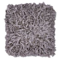 Kas Shimmer Shaggy 18-Inch Square Throw Pillow in Silver