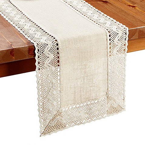 buy pebble lace 36 inch table runner from bed bath beyond. Black Bedroom Furniture Sets. Home Design Ideas