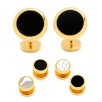 Ox and Bull Reversible Gold Plated Onyx Tuxedo Studs and Cufflinks Set