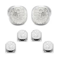 Ox & Bull Stainless Steel Preciosa Crystal Pave Cufflink and Stud Set