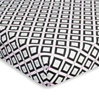 Jonathan Adler Crafted by Fisher Price Diamond Fitted Crib Sheet in Pink/Black