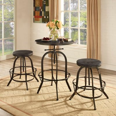 modway gather 3piece pub dining set in black