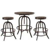 Modway Gather 3-Piece Pub Dining Set in Brown