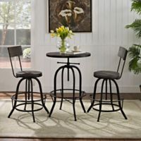Modway Gather 3-Piece Dining Set in Black
