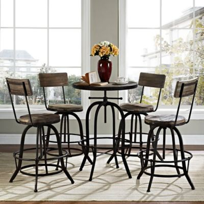 Modway Gather 5-Piece Dining Set in Brown