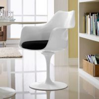 Modway Lippa Dining Fabric Armchair in Black