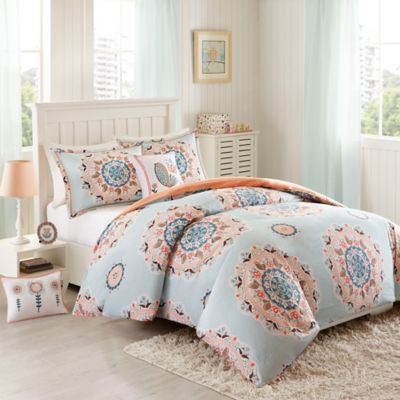INK+IVY Hana Twin Comforter Set In Blue/Coral