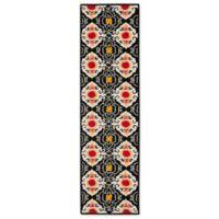 Safavieh Four Seasons Casbah 2-Foot 3-Inch x 6-Foot Indoor/Outdoor Runner in Black/Ivory
