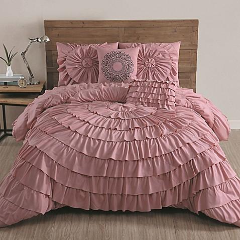 buy avondale manor sadie 5 piece queen comforter set in pink from bed bath beyond. Black Bedroom Furniture Sets. Home Design Ideas