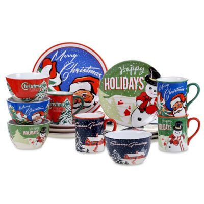 certified retro christmas 16piece dinnerware set