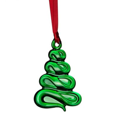 Orrefors Holly Days Christmas Tree Ornament In Green