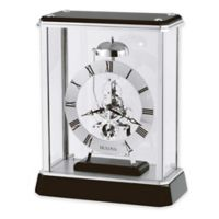 Bulova Vantage Table Clock in Black/Chrome