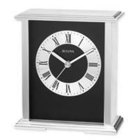 Bulova Baron Table Clock in Brushed Aluminum
