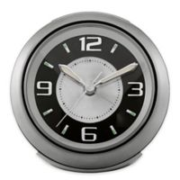 Bulova Lite Night Round Alarm Clock in Silver Grey