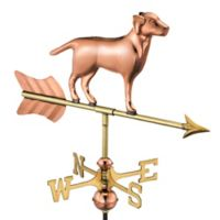 Good Directions Labrador Cottage Weathervane with Roof Mount in Polished Copper