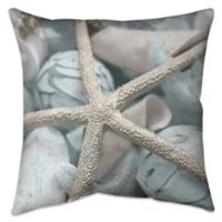 Seashells in Blue Indoor/Outdoor Throw Pillow