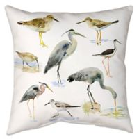 Watercolor Shorebirds Indoor/Outdoor Throw Pillow