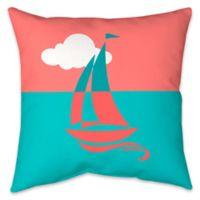 Colorblock Sailboat Indoor/Outdoor Throw Pillow
