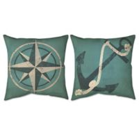 Nautical Compass & Anchor Indoor/Outdoor Throw Pillow