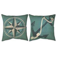Nautical Compass & Anchor Indoor/Outdoor Throw Pillow