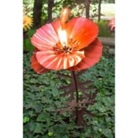 Desert Steel Poppy 36-Inch Metal Garden Torch in Red