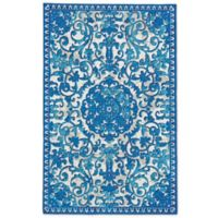 Feizy Lola Center Medallion 9-Foot 6-Inch x 13-Foot Indoor/Outdoor Area Rug in Blue