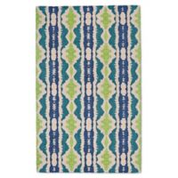 Feizy Lonni Ikat Stripe 12-Foot x 15-Foot Indoor/Outdoor Area Rug in Blue/Green