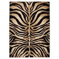 Home Dynamix Tribeca Tiger Stripe 3-Foot 3-Inch x 4-Foot 7-Inch Accent Rug in Black/Ivory