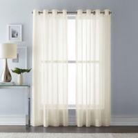 Wamsutta 108-Inch Grommet Top Sheer Window Curtain Panel in Ivory