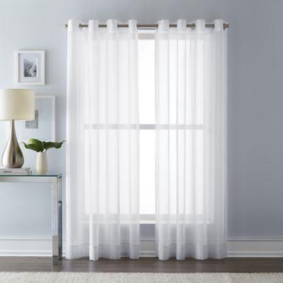 Wamsutta 95 Inch Grommet Top Sheer Window Curtain Panel In White