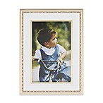 Reed & Barton Luxe Collection 4-Inch x 6-Inch Facets Picture Frame in White/Gold