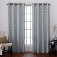 Exclusive Home Baroque 84-Inch Grommet Top Window Curtain Panel Pair in Ice Blue