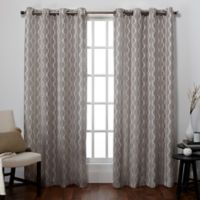 Exclusive Home Baroque 84-Inch Grommet Top Window Curtain Panel Pair in Pewter