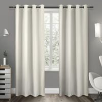 Exclusive Home Sateen 63-Inch Room-Darkening Grommet Top Window Curtain Panel Pair in Ivory