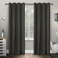 Exclusive Home Sateen 84-Inch Room-Darkening Grommet Top Window Curtain Panel Pair in Charcoal