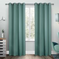 Exclusive Home Sateen 96-Inch Room-Darkening Grommet Top Window Curtain Panel Pair in Teal