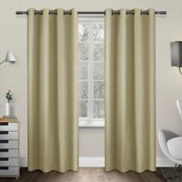 Exclusive Home Sateen 63-Inch Room-Darkening Grommet Top Window Curtain Panel Pair in Linen